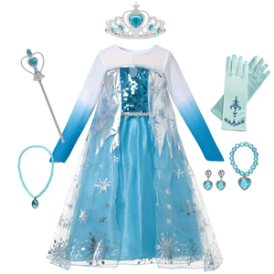 Fozen Elsa Dress for Girls Mesh Tulle Cosplay Princess Dresses Party Birthday Sequins Snow Queen Clothing Halloween Christmas(China)