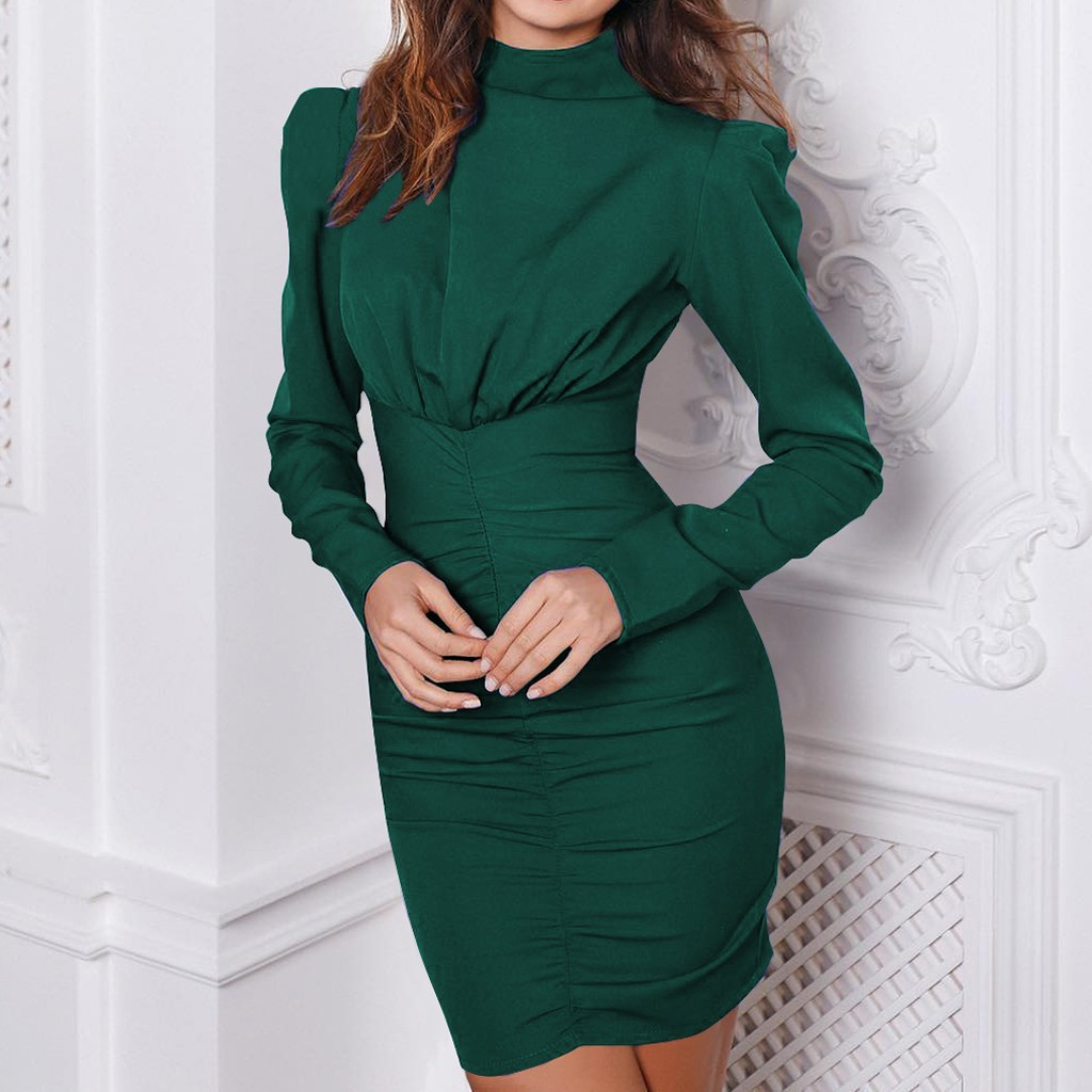 formal dress women elegant 2020 office dress Fashion Women Tight Long Sleeve Solid Color dress Ruched Sexy Dress vestidos#3