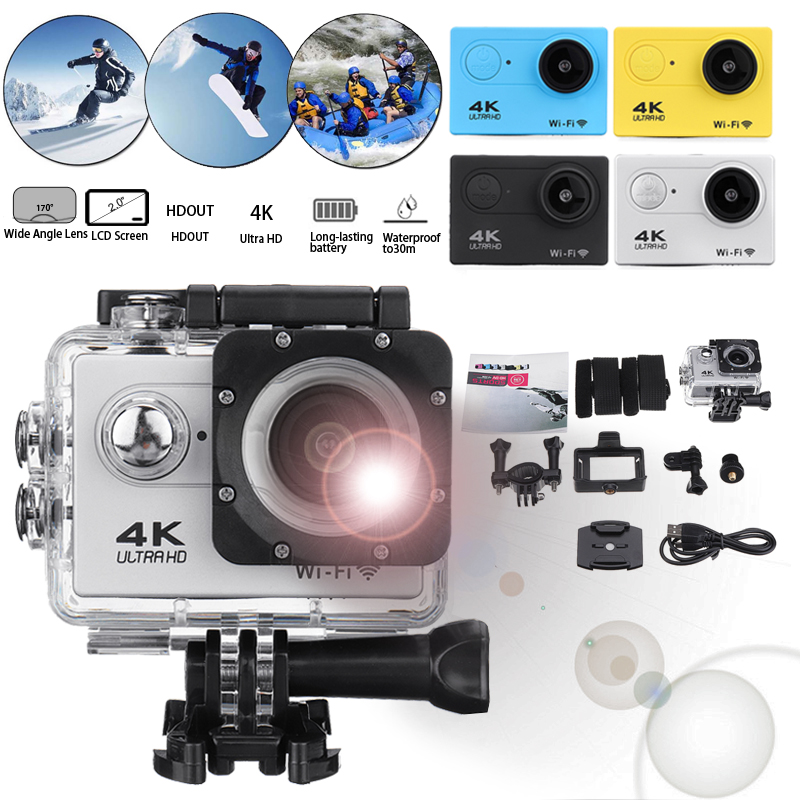 Action Camera Ultra HD 4K 30fps WiFi 2.0 170D Underwater Waterproof Helmet Video Recording Camera Sport Cam
