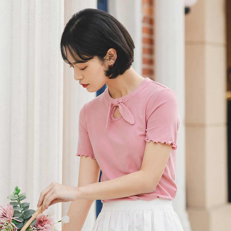 をインマン 2020 夏新到着かわいい甘い蝶ネクタイデザイン形の女の子トップス