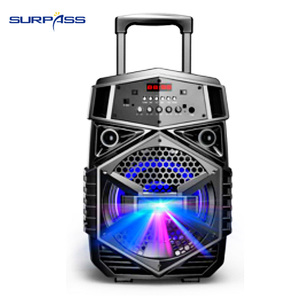 Image 2 - Portable Outdoor Party Subwoofer Bluetooth Battery Speaker Big Power 8 Inch Trolley Speaker LED Light Music Amplifier