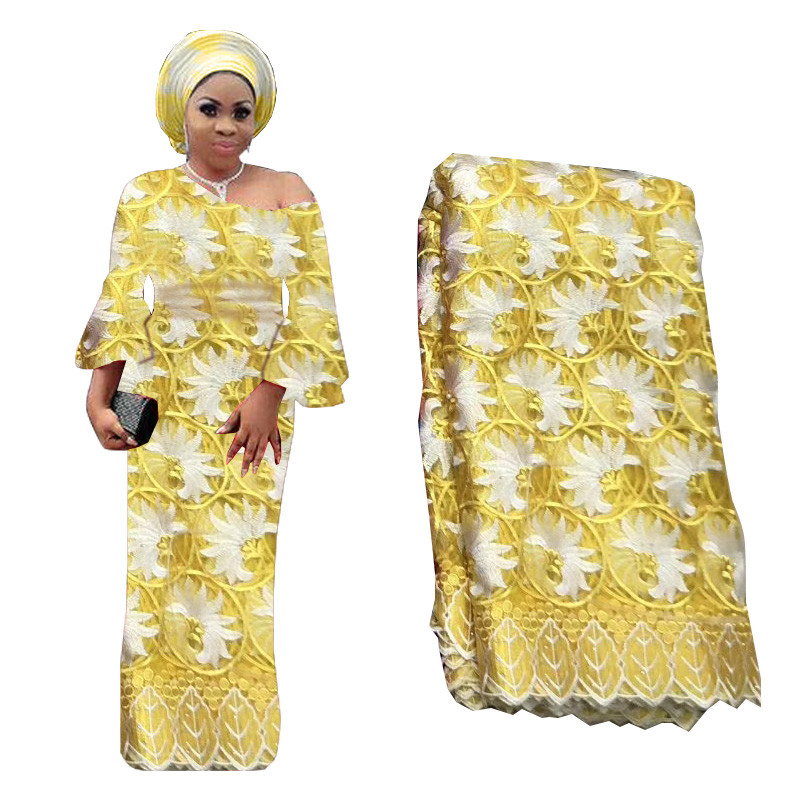 2019 Latest Yellow French Lace Fabric High Quality African Nigerian Flower Embroidered Tulle Lace Fabric With Beads For Bridal