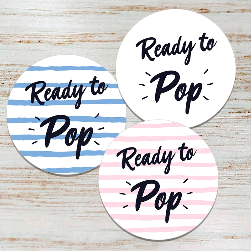 Ready To Pop Round Stickers Baby Shower Sticker Labels Seal Stickers Gender Reveal Parties Celebration Decorations