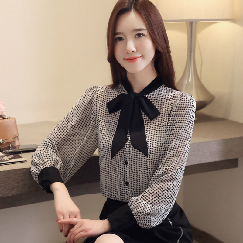 womens tops and blouses long sleeve women shirts fashion bow collor office blouse women plaid chiffon shirt female top Plus size 6