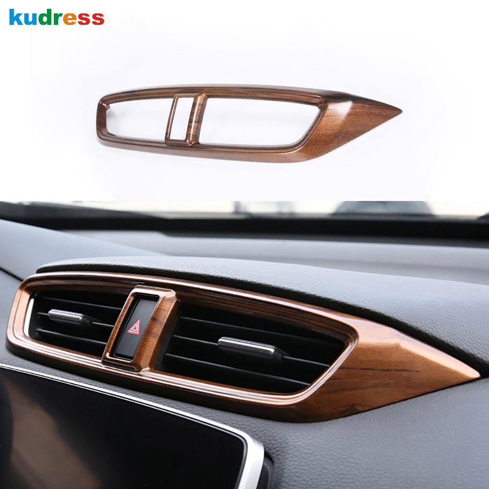 For Honda CRV CR V 2017 2018 2019 ABS Wood grain Car Middle Center Air Conditioning Vent Cover Trim Frame Stickers Accessories|Interior Mouldings| |  - title=