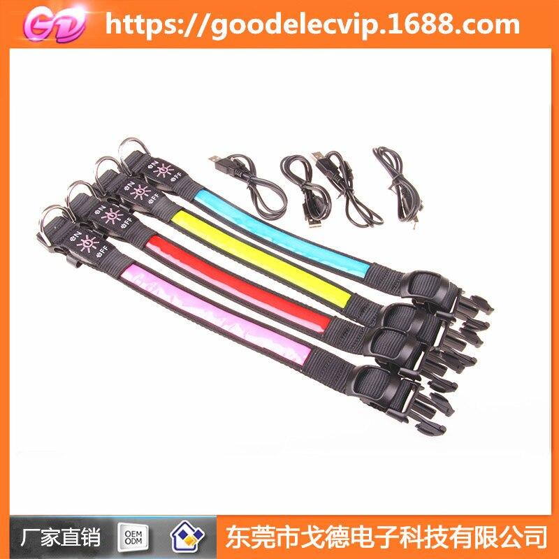 Blue Pet LED Solar Golden Retriever Dog Luminous Collar USB Charging Collar Teddy Bandana Night Light Collar