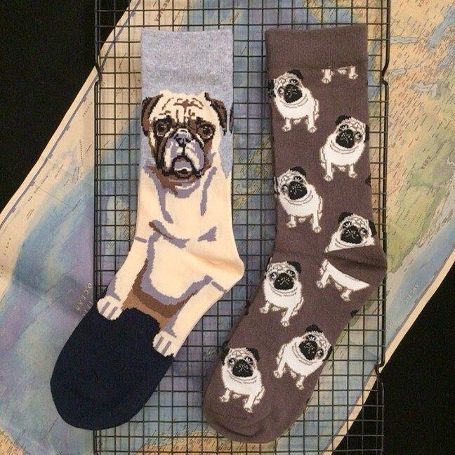Взрослые хлопковые носки с плоскими лицами для маленьких Мопсов, Мопсов, щенков, хороших собак, собачьих собак, официальный оригинальный ди...