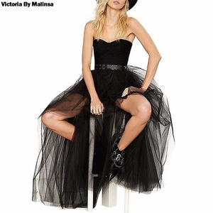Image 3 - Womens Tulle Tutu Long Black Skirts Sexy Asymmetry Vintage Steampunk Skirts Women Long Burlesque Corset Skirt Black Plus Size