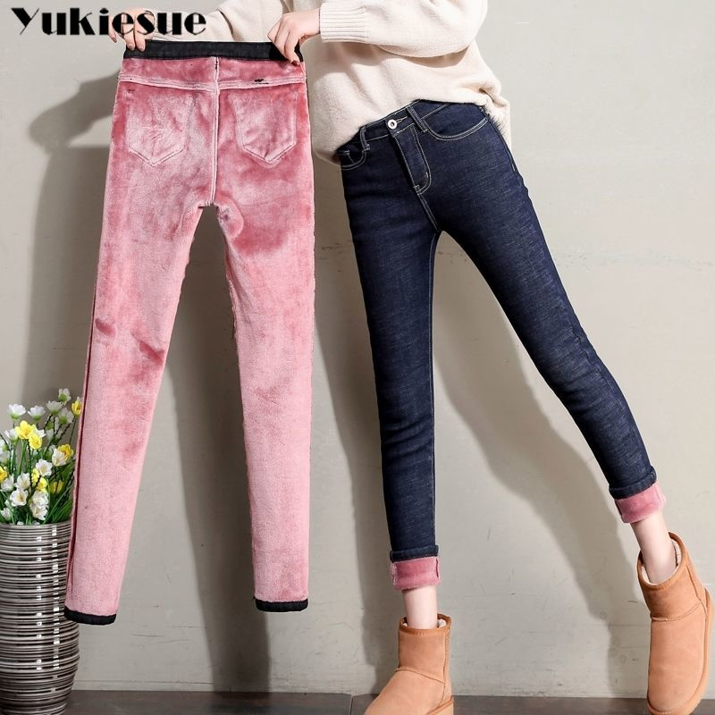 2019 Winter Warm Thick Plus Size Mom Jeans Woman  Boyfriend Skinny Jeans Denim High Waisted Jean Pencil Pants Ladies Streetwear