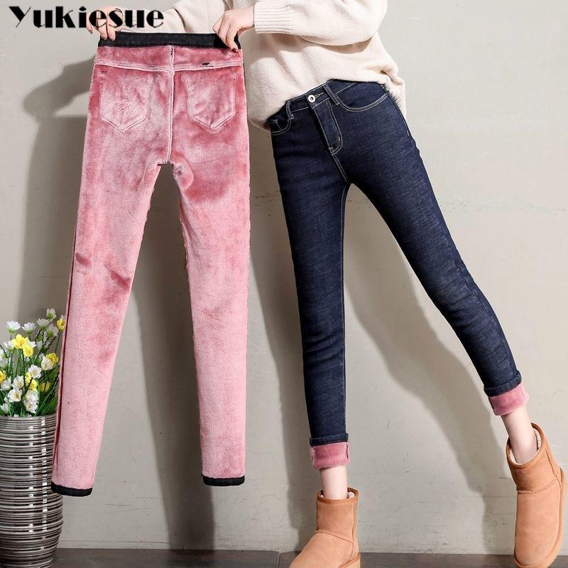 2019 Winter Warm Thick Plus Size Mom Jeans Woman  Boyfriend Skinny Jeans Denim High Waisted Jean Pencil Pants Ladies Streetwear