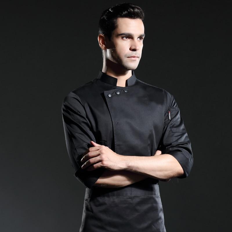 2019 Autumn  Black Sous Chef Coat  Long Sleeves Restaurant Uniform  Hotel Uniform Black Men
