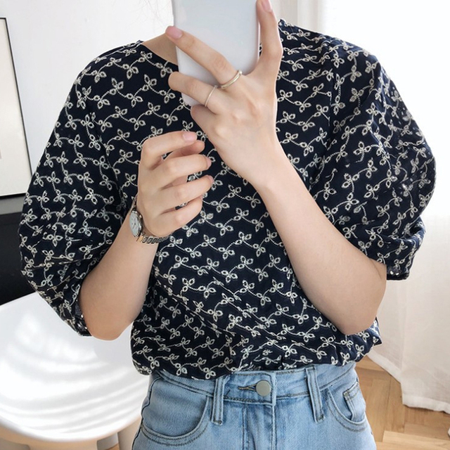 Korean Chic Summer Sweet Women Blouses Vintage O Neck Puff Sleeve Female Shirts 2020 Fashion New Hollow Out Blusas Mujer 2