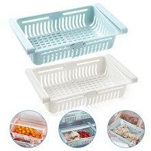2Pcs Küche Zubehör Lagerung Container Kühlschrank Organizer Einstellbare Kunststoff Kühlschrank Lagerung Körbe Pull-out Schublade