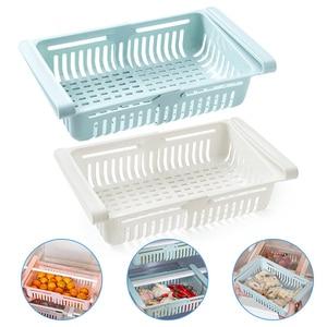 2Pcs Kitchen Accessories Storage Container Refrigerator Organizer Adjustable Plastic Fridge Storage Baskets Pull-out Drawer