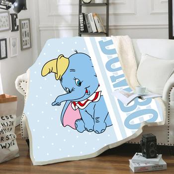 Disney niebieski różowy Dumbo Cartoon lekki pluszowy ciepły rzut koc z Sherpa podkład dzieci dziewczyny chłopcy prezent urodzinowy zima tanie i dobre opinie 100 poliester Przenośne Anty-pilling Wiosna jesień Klasa a T20200408-2A PRINTED Europa Dzianiny Rectangle Piknik Podróży