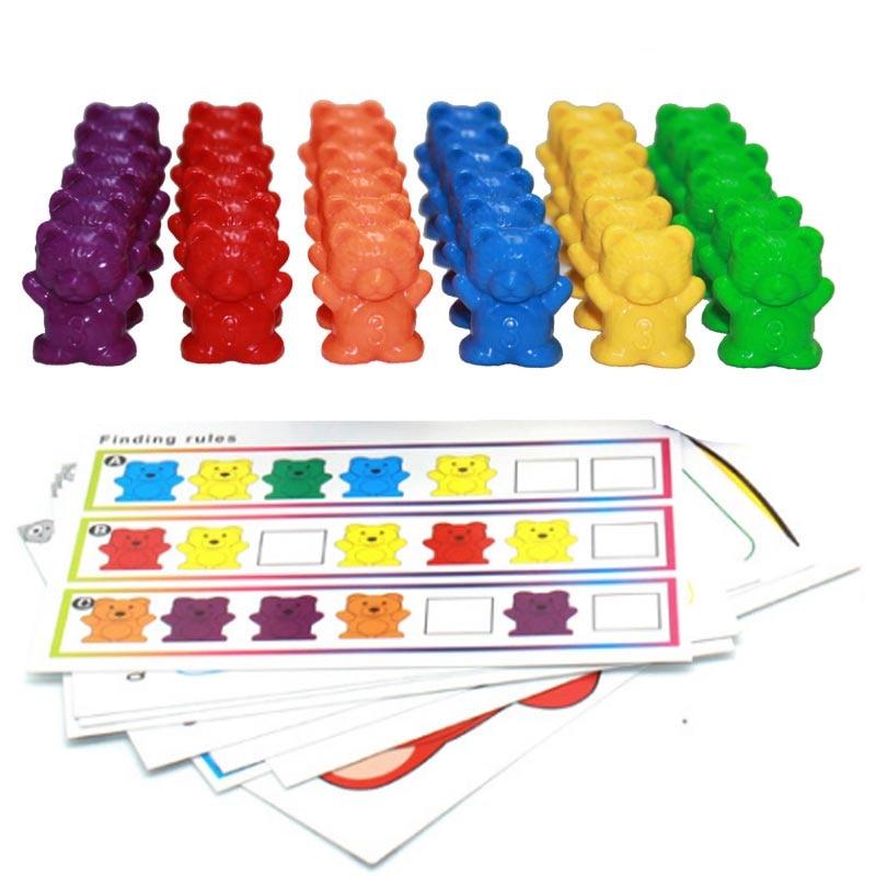 12 pçs/lote 6 cores contando ursos montessori brinquedos educativos para crianças crianças cor classificando matemática aprendizagem ferramentas crianças brinquedo