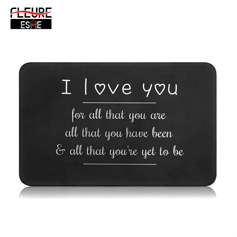 Love Note Boyfriend Gifts Engraved Wallet Cards Inserts Anniversary Valentine Gifts Party Favors Gifts For Him Husband Men Groom