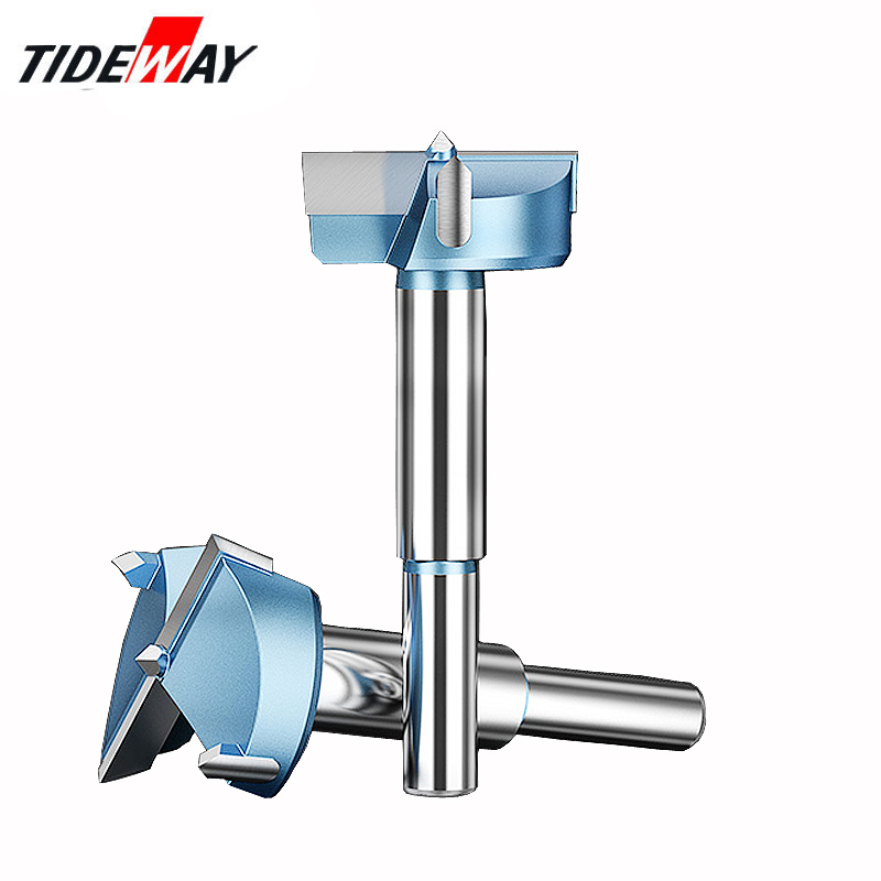 Tideway 12mm-65mm Forstner Drill Bits Tips Woodworking Tools Hole Saw Cutter Hinge Boring Round Shank Tungsten Carbide Cutter
