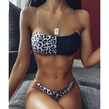 Sexy Leopard Brazilian Bikinis Set Swimsuit Female Thong Bikini 2020 Push Up Swimwear Women Bandeau Patchwork Swim Bathing Suit 2