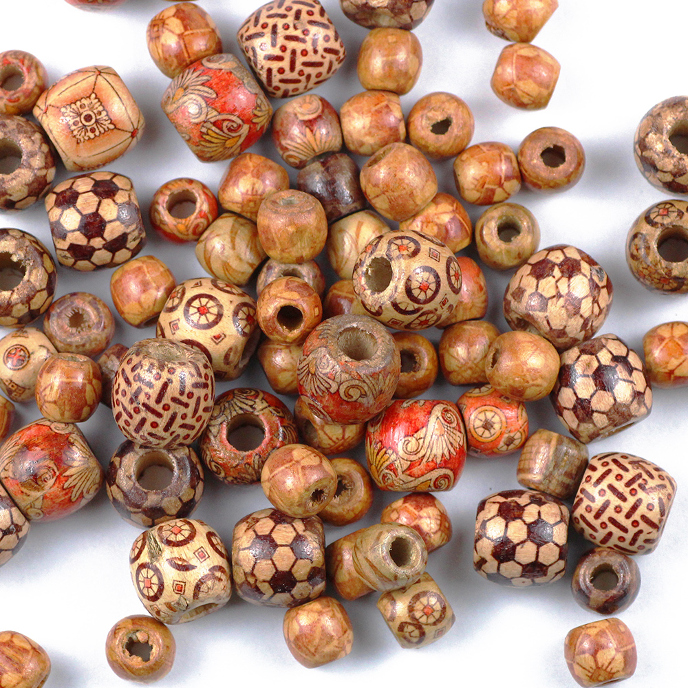 YHBZRET 100pcs Painted Wooden Beads Spacer Round Big Hole Beads For Jewelry Making Fit Charm Bracelet DIY Findings 9*10/16*17mm