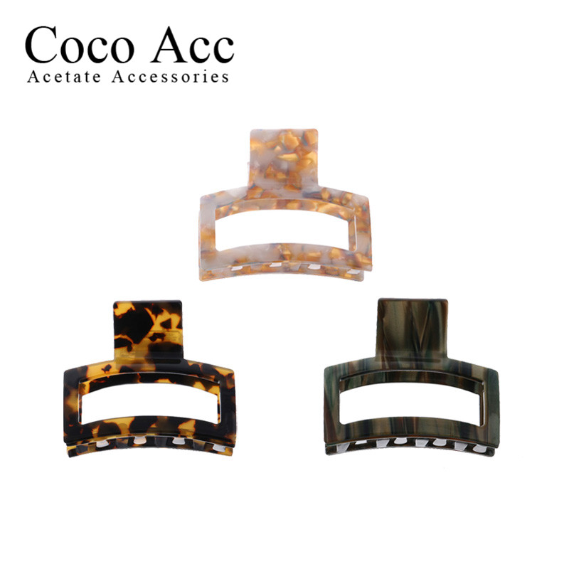 2020 New Design Acetate Acrylic Tortorise Shell 5.6cm Hollow Out Small Hair Claws For Women Girls