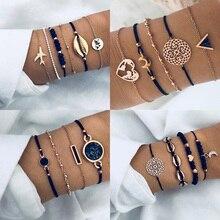 New Bohemian Black Rope Chain Bracelet Set For Women aircraft Shell Moon Heart crystal