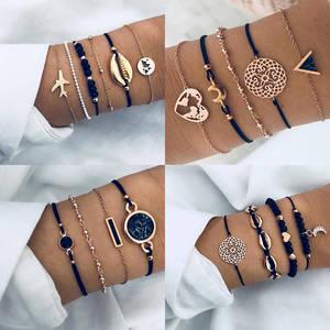 Bracelet-Set Charm Bangle Chain Rope Aircraft-Shell Boho Jewelry Crystal Moon Black Heart