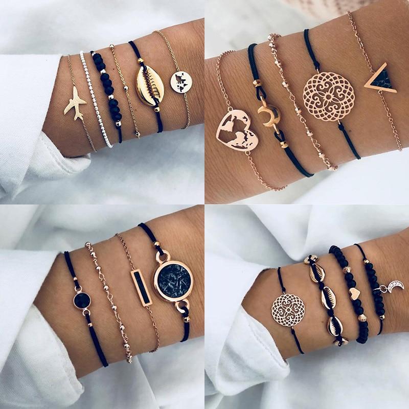 New Bohemian Black Rope Chain Bracelet Set For Women aircraft Shell Moon Heart crystal Charm Bangle Boho Jewelry(China)
