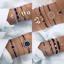 Ensemble de bracelets en chaîne et cordon noir, accessoires femmes, bijou style bohème, plusieurs formes de breloques en cristal, avion, coquillage, lune, coeur, nouveauté