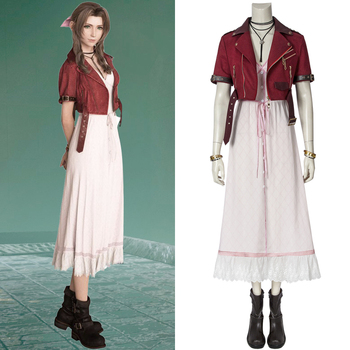 PS4 Game Final Fantasy VII Costume FFVII FF7 Aerith Gainsborough Cosplay Jacket Dress Adult Halloween Party Outfit Custom Made