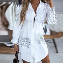 Carta de impressão moda blusa manga comprida com decote em v solto vestido de festa elegante moda imprimir tops blusa plus size