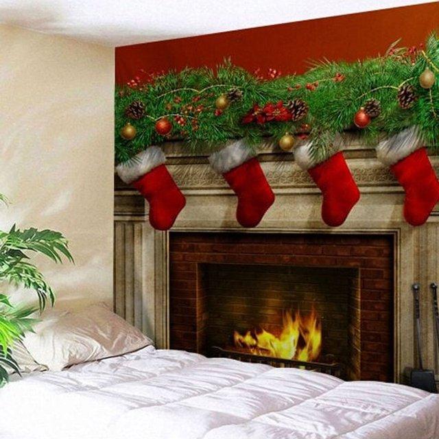 Tapeçaria de natal europa e américa dacron tapeçaria de parede de natal sala estar casa pendurado cabides de parede pano