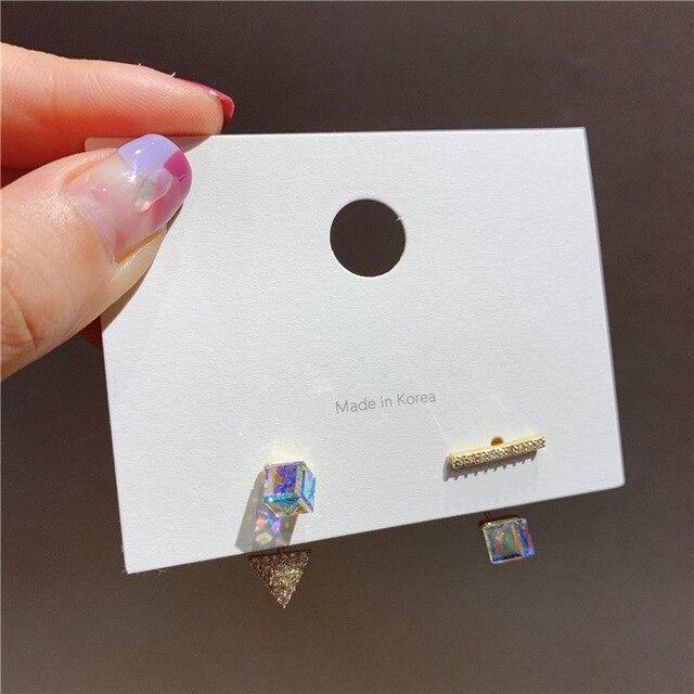 Novedad 2020, Pendientes colgantes Zeojrlly de cristal de hipérbole geométrica para mujer, joyería asimétrica cuadrada de cristal coreana