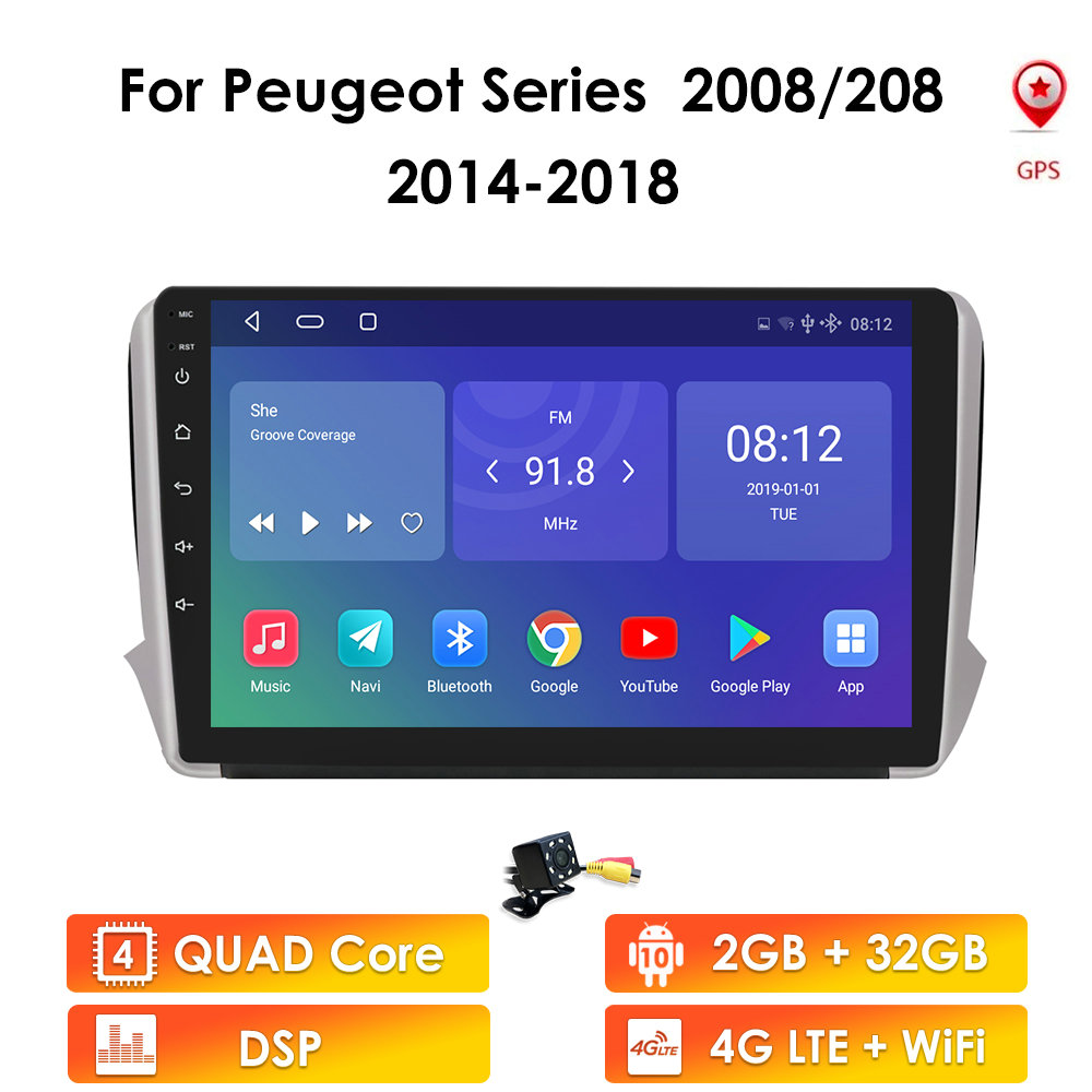 4G + 64G 4G Android 10 para PEUGEOT 2008 208 Series 2012-2018 Auto 2 Din Auto Radio estéreo reproductor GPS Wi-Fi DAB + RDS + TPMS SIN DVD
