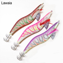 Lawaia Fishing Lures 17cm/31.7g Artificial Wood Shrimp Luminous 4.5# Squid Needle Explosion Hook Road Bait Swimbait Tools