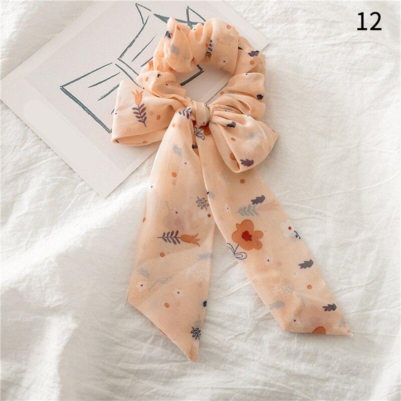 Femmes banderoles chouchous à pois imprimé Floral élastique noeud cheveux corde fille cheveux cravates coréen doux cheveux accessoires chapeaux 18