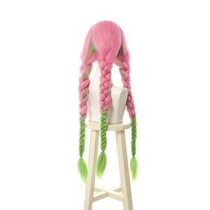 Image 4 - L email wig Demon Slayer Kanroji Mitsuri Cosplay Wigs Kimetsu no Yaiba Long Pink Mix Green Braid Cosplay Wig Synthetic Hair