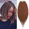 Kısa kutusu örgü tığ saç 14 inç Ombre kahverengi kutusu örgüler saç Afro kadınlar için sentetik tığ örgü örgü saç uzantıları Bug