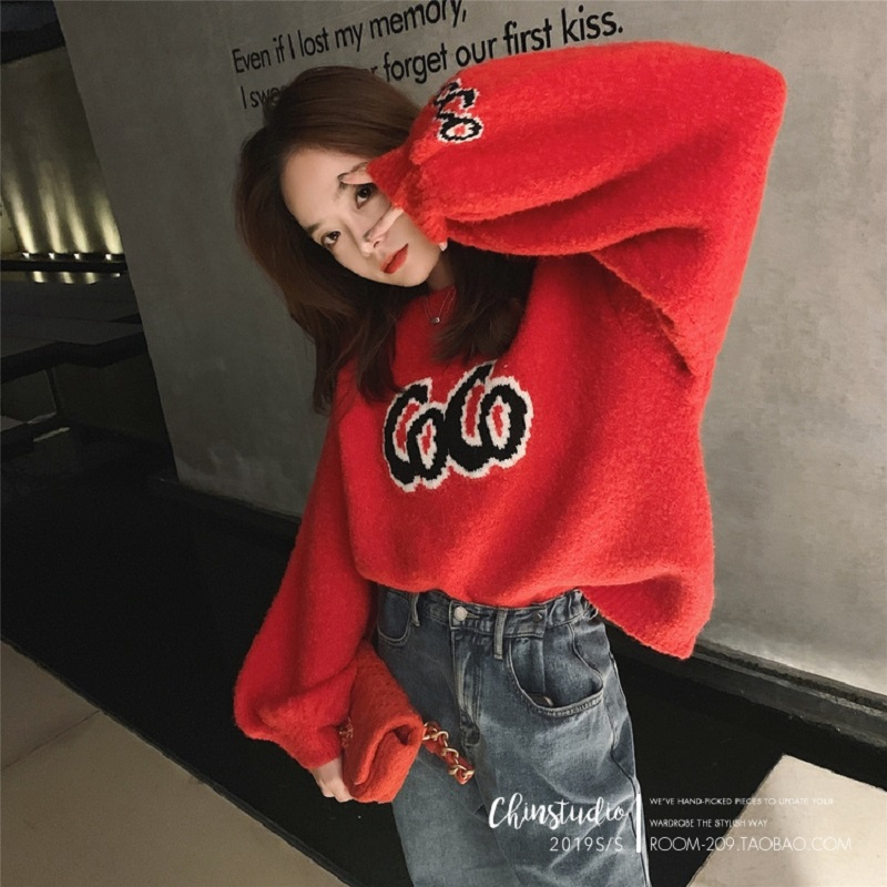 GRUIICEEN Winter Letter Pullover Knitted Sweater 2019 New Loose O-neck Women's Sweater GY2019906