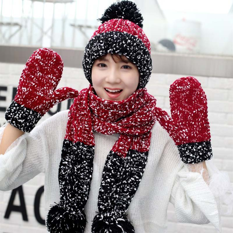 Women's Winter Hat Scarf Gloves Three-Piece Outdoor Brushed And Thick Hat Scarf Gloves Christmas Warm Hat Set