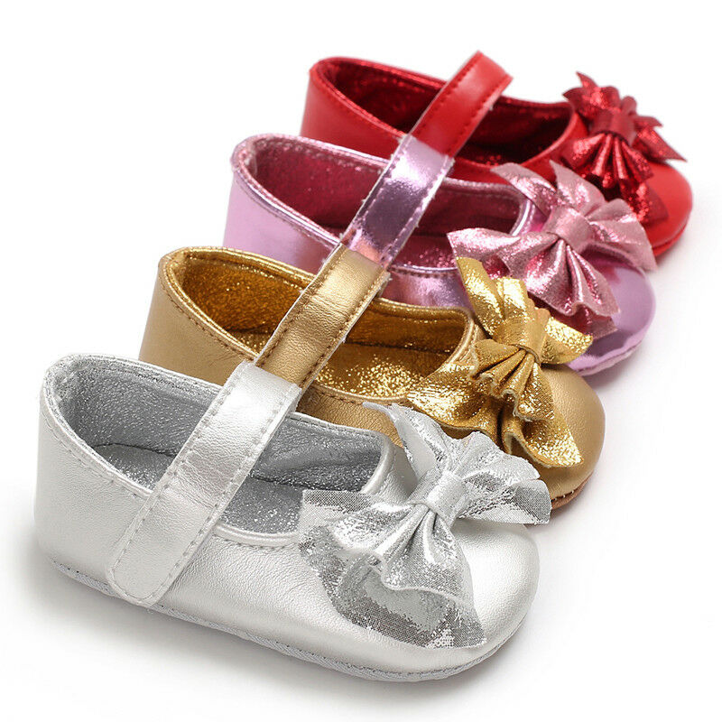 Toddler Baby Girl Shoes Newborn Kids PU Leather Soft Sole Princess Crib Shoes Prewalker Bowknot Glitter Silver Gold 0-18M