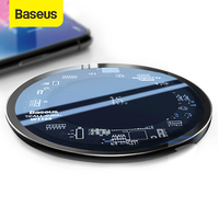 Baseus 15W Qi Wireless Charger for iPhone X/XS Max XR 8 Plus Visible Element Wireless Charging pad for Samsung S9 S10+ Note 9 10|Mobile Phone Chargers| |  -