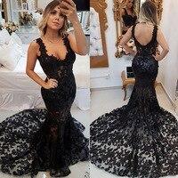 Black Elegant Long Prom Dresses Double Straps Applique Wedding Party Guest Sexy Mermaid Dress Formal Gowns Evening Dresses Dubai
