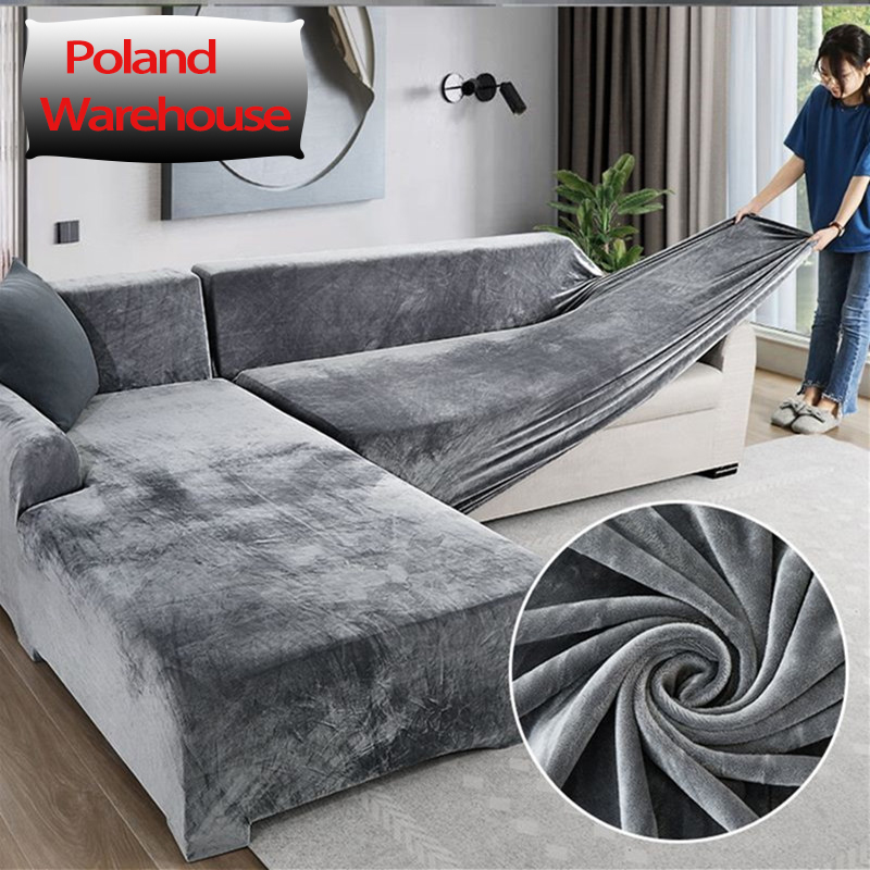 Capas de sofá de pelúcia elástica para sala de estar veludo canto poltrona plissados capa conjuntos 2 e 3 seater l forma móveis