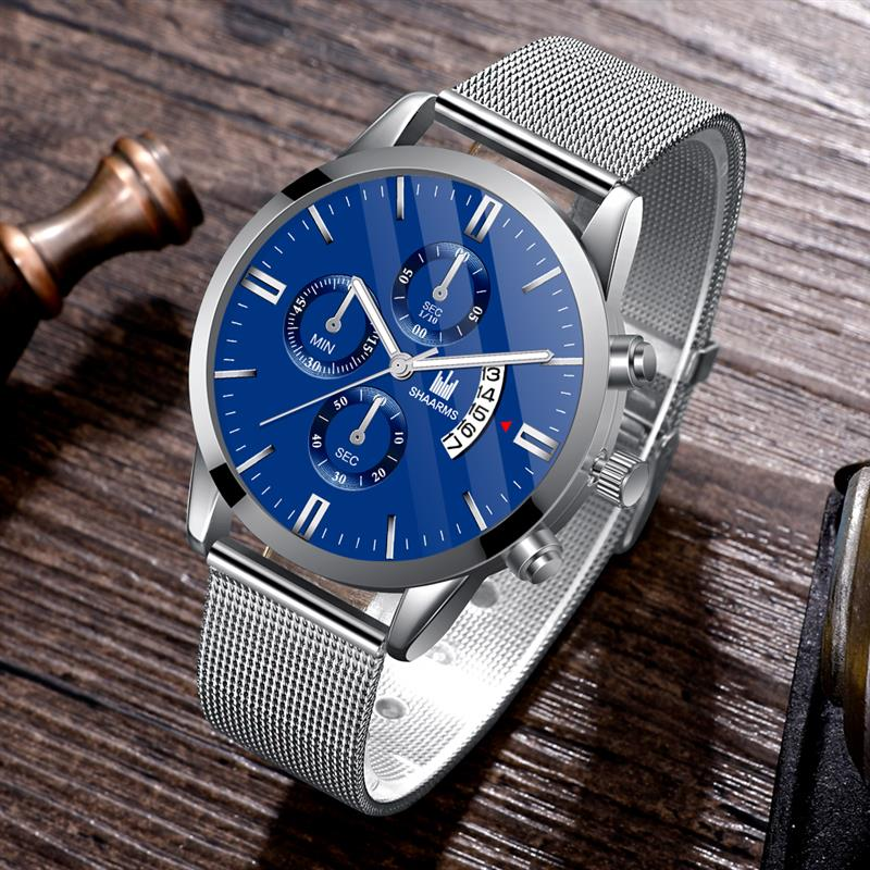 Men Luxury Silver Blue Watch Fashion Military Sport Date Clock Mesh Band Stainless Steel Quartz Wristwatch Male Business Watches
