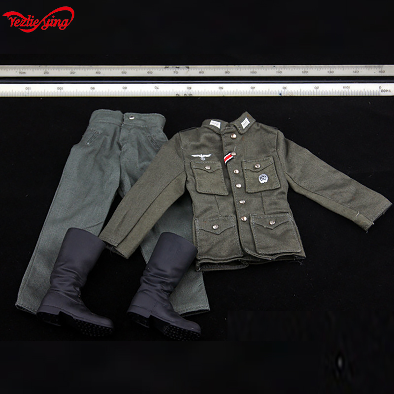 1/6 1:6 Scale DIY DML Soldier Action Figures Clothes WWII M43 Uniform Combat Pants Suit German Tube Boots Set Fit 12 Inch Body