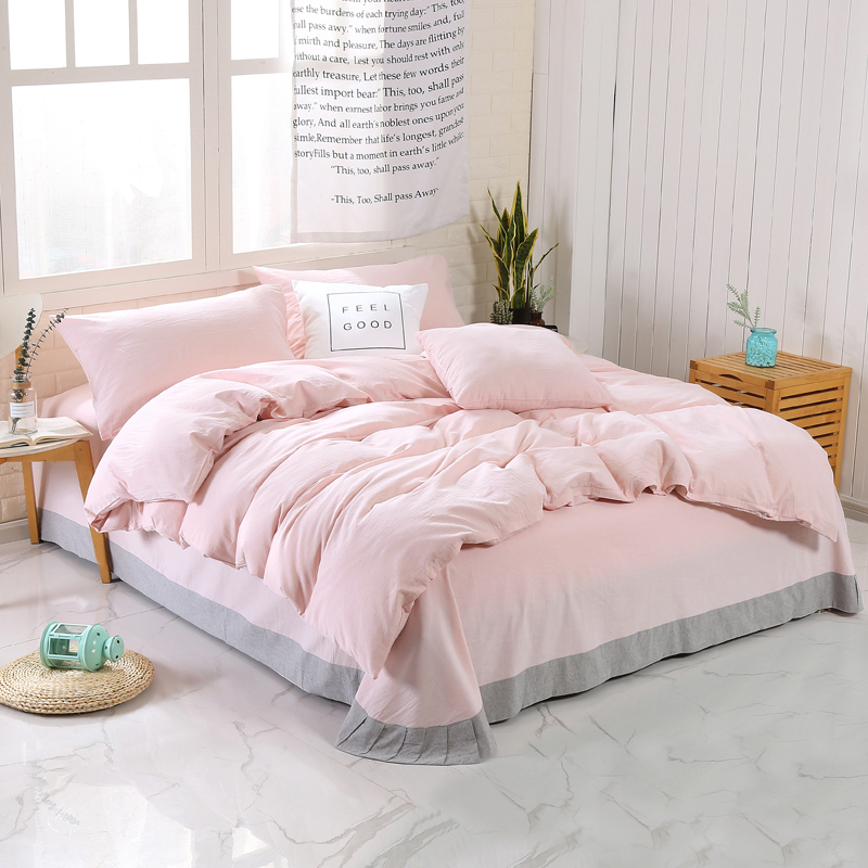 Washed Cotton Duvet Cover Flat/Fit Sheet Yarn Dyed Grey Comfy And Soft Bedding Set With Zipper Corner Ties 4Pcs Queen King Size