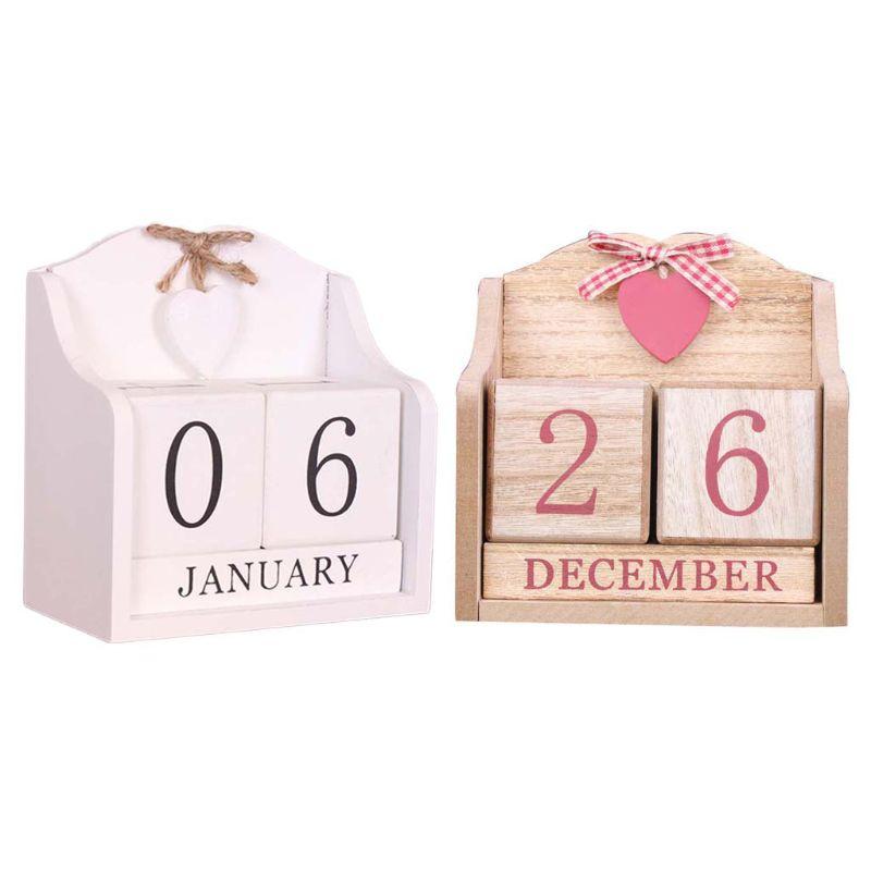 Vintage Wooden Perpetual Calendar Month Date Display Eternal Blocks Photography Props Desktop Accessories Home Office DecorationCalendar   -