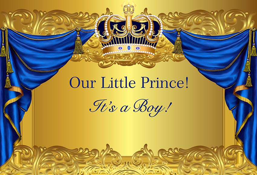 vinyl photography background baby shower prince royal luxury gold birthday party crown custom children backdrop photo booth