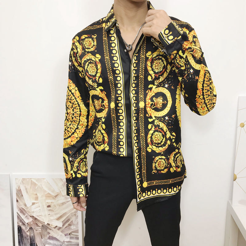 New Autumn Men Dress Shirts Hipster Long Sleeve Fancy Shirts Men Luxury Design Baroque Floral Print Wedding Party Prom Shirts